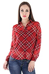 Bonheur Women's Red Checkered Shirt BH-035-Red-S_Green_Small)