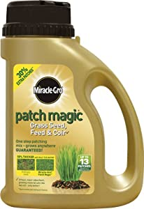 Miracle-Gro 1.015kg Patch Magic Grass Seed with Feed and Coir 13 Patches Shaker Jug