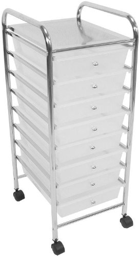 White 8 Drawers Plastic Storage Trolley Beauty Saloon Parlor Hairdressing Office Kitchen Trolley