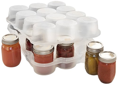 JarBox Protector for Canning Jars, Semi-Clear, 12-Pint Jars