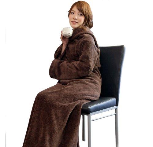 mofua(モフア) 袖付きマイクロファイバー あったか着る毛布 ブラウン 22000006