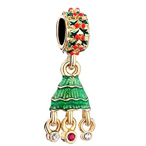 Pugster Green Drip Gum Red Xmas Tree Red Crystal Beads Fits Pandora Chamilia Biagi Charm