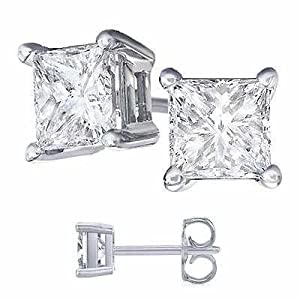 Nickel Free Platinum Rodium Finish Cubic Zirconia Princess Cut 925 Sterling Silver Stud Earrings. 4 Carat Total Weight Princess Cut Cubic Zirconia. 2 Carat Each Stone