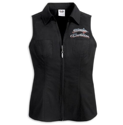 Harley-Davidson® Women's Independence Collection Sleeveless Zip Front Woven Shirt-LIMITED EDITION. Graphics. Embellishments on Back. Made in USA. 98049-12VW