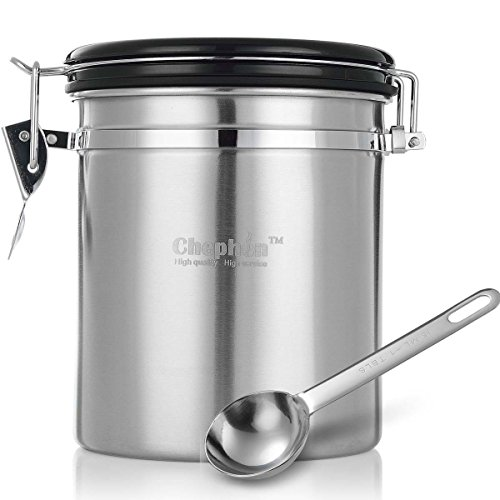 Chephon(TM) Stainless Steel Airtight Coffee Canister with Date Dial and One-way CO2 Vent Valve - Premium Airscape Coffee Container with Free Scoop (1 lb/16 oz) (Metal Sealed Container compare prices)