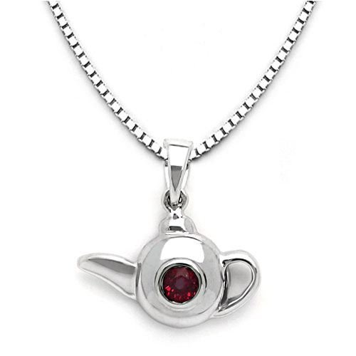 18k White Gold Ruby Teakettle Pendant