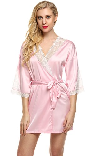 ekouaer spa robes womens thigh length loungewear sexy lace. Black Bedroom Furniture Sets. Home Design Ideas