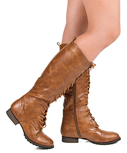 Breckelles Women's Knee High Lace Up Combat Boots