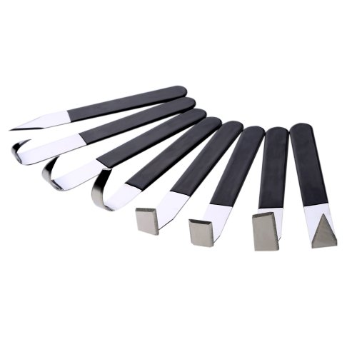 Vktech 8 Pcs Stainless Steel Pottery Clay Sculpture Knives with Rubber Handle