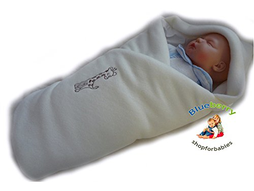 Blueberry Luxurious Very Warm Fleece Swaddle Wrap Blanket Sleeping Bag Birthday Gift Present Cream - 1