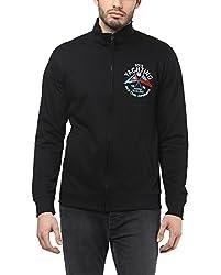 American Crew Men's Solid Full Sleeves Black & Blue Zipper Jacket With Applique -XL (ACJK24A-XL)