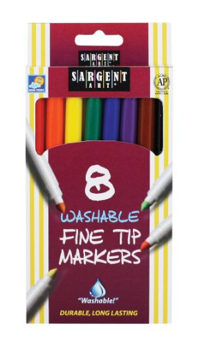 Sargent Art 22-1560 8-Count Washable Fine Tip Markers