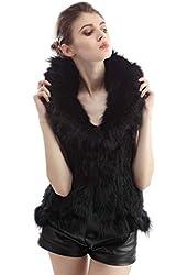 Michley Women Real Rabbit Knitted Fur Vest Girls Winter Warm Long Waistcoat