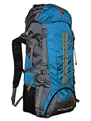 Gleam 75Litres Polyester Sky Blue & Grey Hiking Backpack With Rain Cover