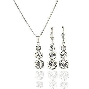 Kristallwerk, Damen Schmuckset 925 Silber mit SWAROVSKI ELEMENTS Kristall Farbe Crystal