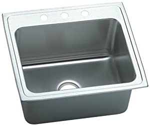 Elkay DLRQ2522123 Gourmet Lustertone 25-Inch by 22-Inch Stainless Steel Three-Hole Kitchen Sink, Lustertone Satin Finish