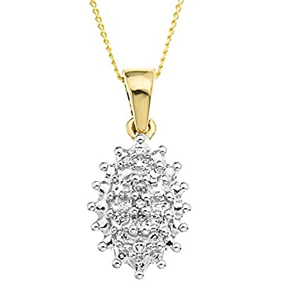 Ornami Glamour 9ct Yellow Gold Diamond Set Cluster Pendant on 46cm Chain