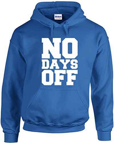 No Days Off (Alternate), Printed Hoodie - Royal Blue/White L front-986438
