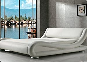 Modern Italian Designer Double Bed Upholstered in Faux Leather, Available in 4 Sizes and 6 Different Colours (White, King)