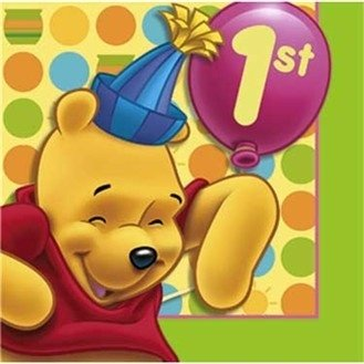 Pooh's 1st Birthday Beverage Napkins 16ct - 1