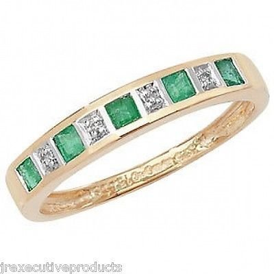 Half Eternity Ring Yellow Gold Real Emerald & Diamond Available in Sizes G-Z