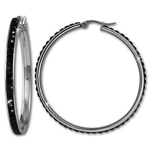 Amello in acciaio inox Orecchini Cerchio Rotondo Con Swarovski, colore: nero, diametro: 50mm-donna-orecchini a cerchio in acciaio inox ESOS05S