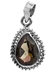 Exotic India Faceted Smoky Quartz Pendant - Sterling Silver - B00HL02ETC