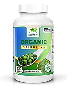 Healthies Organic Spirulina - 60% Protein All Essential Amino Acids - Green Superfood Health Supplement - Purest Spirulina Tablets 2000mg Per Serving - Non GMO 120ct, Kosher, Halal, Nutrient Dense