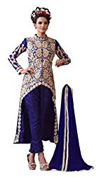 Fashion Fire Women's Blue Full Embroidered Georgette Unstitched Dress Material