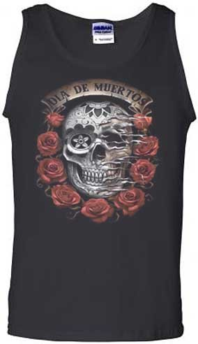 Dia De Muertos Tank Top Day of the Dead Skull with Roses Black
