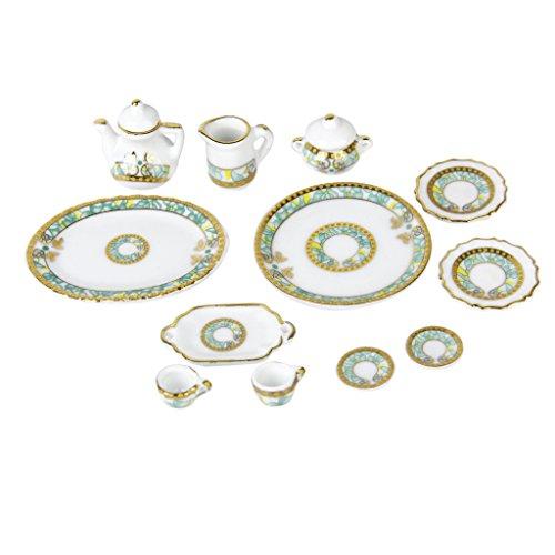 12Pcs Dining Ware Porcelain Tea Set Dish Cup Plate Dollhouse Miniature