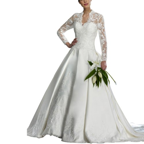 GEORGE BRIDE Royal V-Neck Full-Length Sheer Lace Sleeves Satin Wedding Dress