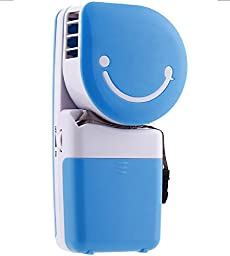 Generic Handheld Air Conditioner Battery USB Fan Smiley Face Shaped Blue