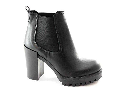 PREGUNTA 1452P nero scarpe donna tronchetto tacco elastici 38