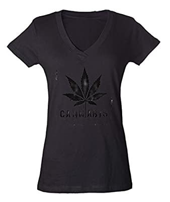 Cannabis Leaf Legalize Weed Ladies V-Neck SLIM T-shirt 420 Day High Street Shirts