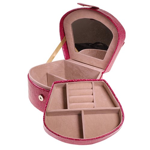 Pink Faux Leather Snake Skin Effect Fashion Jewellery Box By Kurtzy Tm front-609428