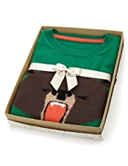 Pure Cashmere Bear Design Jumper in Gift Box