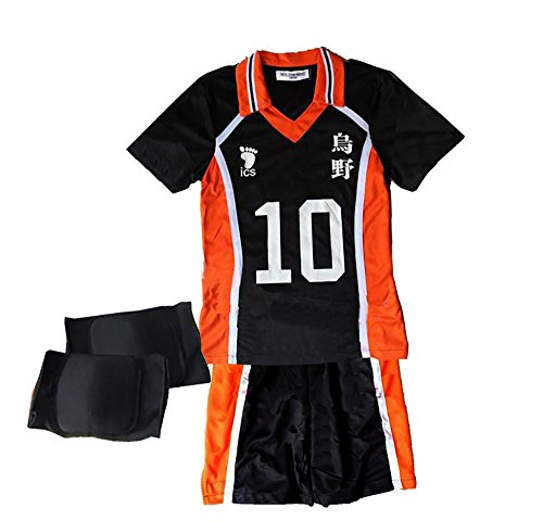 Haikyuu Costume Uniform Hinata Kageyama Cosplay (S-L) with Knee Supporter