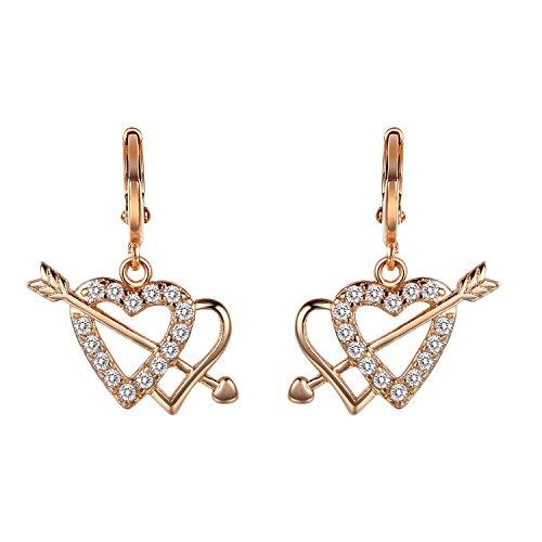 Romantic Time Wearing A Peach Heart Arrow Through Double Heart Gemstone 18k Rose Gold Plated Dangle Earrings