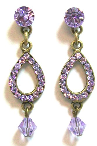 Creations Georgianni 14K Antique Gold Plated Tiered Post Earrings with Violet Swarovski Crystals in a Teardrop Shape