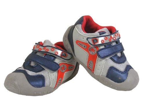 New Baby Boys Kids JC DEES Navy Grey Red Velcro Fashion Trainers Pumps Size Sz 5