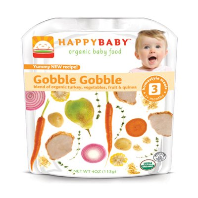 Happy Baby Organic Baby Food Stage 3 Gobble Gobble - 4 oz - Case of 16 Happy Baby Organic Baby Food