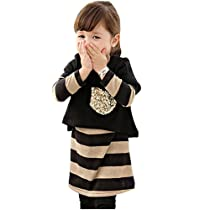 Little Hand Kids Girls Clothes Sequin T-shirt and Stripe Dress 2 Pcs Set 2-7 Years 3T Black