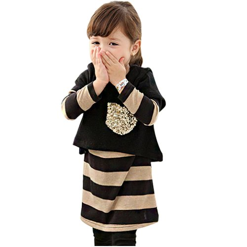 Little Hand Little Girls' Clothes Sequin T-Shirt And Stripe Dress 2 Pcs Set