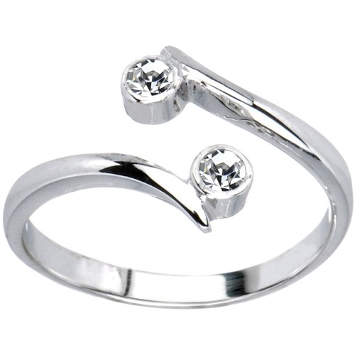 10k White Gold Double Solitaire Cubic Zirconia Toe Ring