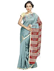 B3Fashion Traditional Handloom Super Soft Silk Blend Saree In Pastel Green With Thin Golden Running Border With...