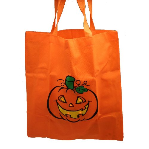 One Flashing LED Pumpkin Jack O Lantern Design Safety Trick Or Treat Bag