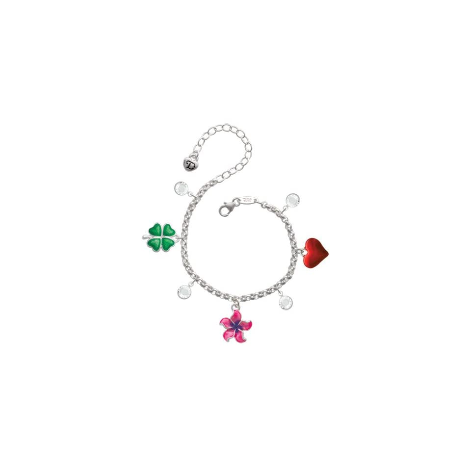 Hot Pink and Purple Plumeria Flower Love & Luck Charm Bracelet with Clear Swa