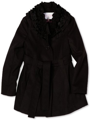 Jessica Simpson Coats Girls 7-16 Ruffle Collar Coat, Black, Small