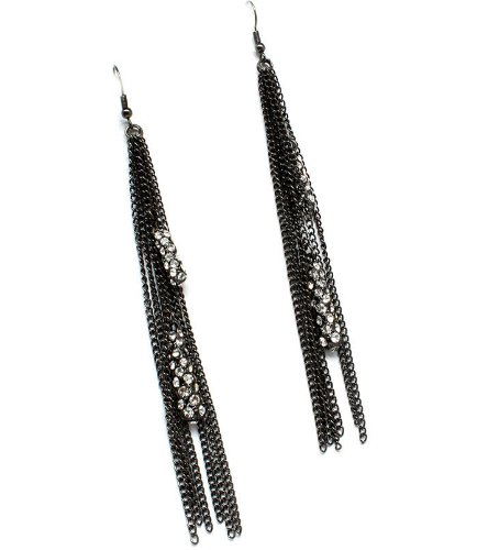 Long Gunmetal Tassel Earrings